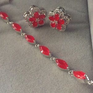 Beautiful red ruby REAL cz's SS925 set